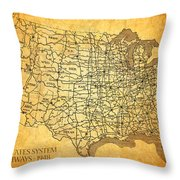Vintage United States Highway System Map On Worn Canvas Throw Pillow