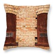 Vintage Urban Brick Building - Salt Lake City Throw Pillow