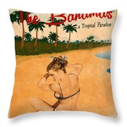 Vintage Vacation Ad Throw Pillow