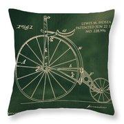 Vintage Velocipede Patent Throw Pillow