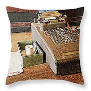 Vintage Victor Cash Register Throw Pillow