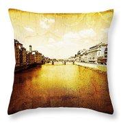 Vintage View Of River Arno Throw Pillow