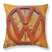 Vintage Volkswagen Bus Logo Throw Pillow