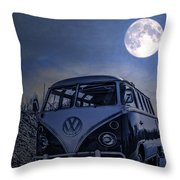 Vintage Vw Bus Parked At The Beach Under The Moonlight Throw Pillow