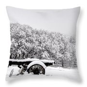 Vintage Wagon In Snow And Fog Filled Valley Throw Pillow