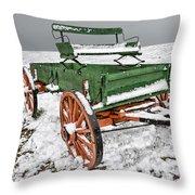 Vintage Wagon In The Snow E98 Throw Pillow