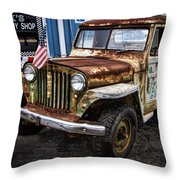 Vintage Willy's Jeep Pickup Truck Throw Pillow