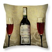 Vintage Wine Lovers Throw Pillow