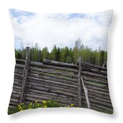 Vintage Wooden Fence Throw Pillow