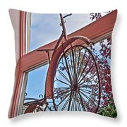 Vintage Wrought Iron Bike In Window Art Prints Throw Pillow