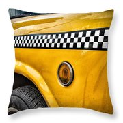 Vintage Yellow Cab Throw Pillow by John Farnan