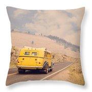 Vintage Yellowstone Bus Throw Pillow