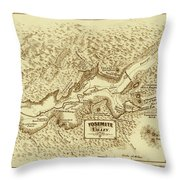 Vintage Yosemite Map 1870 Throw Pillow