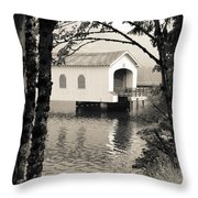 Vintaged Covered Bridge Throw Pillow
