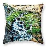 Vintaged Mount Hood Postcard Throw Pillow