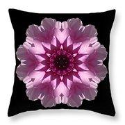 Violet And White Dahlia I Flower Mandala Throw Pillow