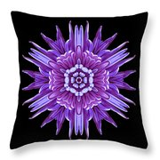 Violet Chrysanthemum Iv Flower Mandala Throw Pillow