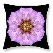 Violet Dahlia II Flower Mandala Throw Pillow