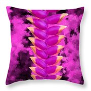 Violet Heliconia Flower Throw Pillow