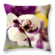 Violet Orchids Brushed With Gold Throw Pillow