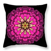 Violet Zinnia Elegans Flower Mandala Throw Pillow
