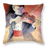 Violin Man Throw Pillow