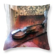 Violin On Credenza Throw Pillow