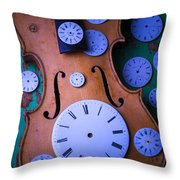 Violin With Watch Faces Throw Pillow by Garry Gay