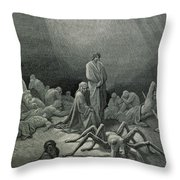 Virgil And Dante Looking At The Spider Woman, Illustration From The Divine Comedy Throw Pillow