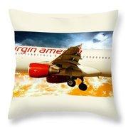 Virgin America A320 Throw Pillow