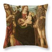 Virgin And Child Between St. John Throw Pillow