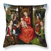 Virgin And Child With Saints Catherine Of Alexandria And Barbara Throw Pillow