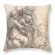 Virgin And Child With St. Anne Throw Pillow by Leonardo da Vinci