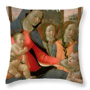 Virgin And Child With St John The Baptist And The Three Archangels Throw Pillow