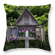 Virgin Mary Shrine Throw Pillow