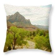 Virgin River Through Zion National Park 2 Throw Pillow