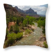 Virgin River Through Zion National Park Throw Pillow