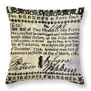 Virginia Banknote, 1781 Throw Pillow