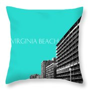 Virginia Beach Skyline Boardwalk  - Aqua Throw Pillow