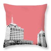 Virginia Beach Skyline - Light Red Throw Pillow