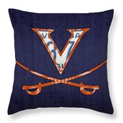 Virginia Cavaliers College Sports Team Retro Vintage Recycled License Plate Art Throw Pillow