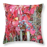 Virginia Creeper Fall Leaves And Berries Throw Pillow