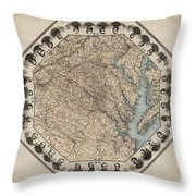 Virginia Map With Civil War Heroes Throw Pillow