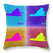 Virginia Pop Art Map 2 Throw Pillow