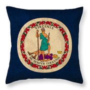 Virginia State Flag Art On Worn Canvas Throw Pillow