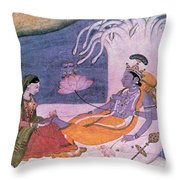 Vishnu And Lakshmi Float Across Cosmos Throw Pillow by Photo Researchers