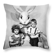 Visiting The Easter Bunny Throw Pillow