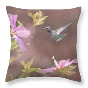 Visitor In The Rose Of Sharon Throw Pillow