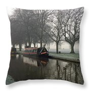 Visitor Moorings Beside Shobnal Fields Throw Pillow