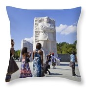 Visitors At The Martin Luther King Jr Memorial Throw Pillow